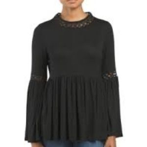 Max Jeans black bell sleeve lace detail top size s
